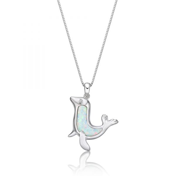 """.003 cttw Diamond and Created Opal Sea Lion Pendant in Sterling Silver 18"""""""