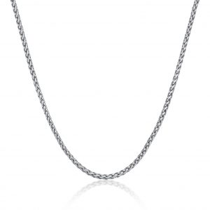 Wheat Stainless Steel Thin Chain Necklace - 3 MM, 18 Inches Length with Lobster Clasp