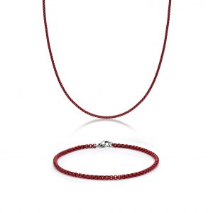 Stainless Steel Red Acrylic Thin Box Gift Set - 3 MM Wide, 24 Inches Length with Lobster Clasp
