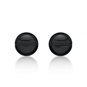 Black Ion Plated Stainless Steel Stud Round Earrings - 9 MM