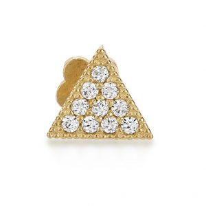 0.10 Round Cubic Zirconia 14K Yellow Gold Triangle Cartilage Earring with Hidden Snap Post - 2.5 MM