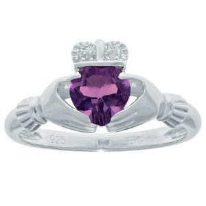 0.70 Heart Amethyst 925 Sterling Silver Ring with Diamonds, Size - 5
