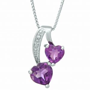 0.70 Heart Shaped Amethyst 925 Sterling Silver Pendant with 0.40 Amethyst - 18 IN Box Chain