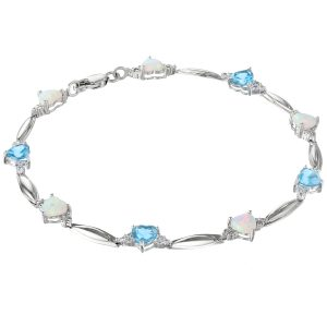 2.20 Heart Blue Topaz 925 Sterling Silver Bracelet with 1.25 Heart Created Opal - 7 Inches