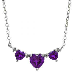 0.70 Heart Amethyst 925 Sterling Silver Triple Necklace with 0.40 Heart Amethyst - 18 Inch Cable Chain