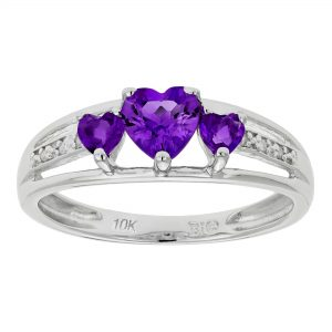 0.40 Heart Shaped Amethyst 10K White Gold Ring with 0.24 Amethyst, Size - 5