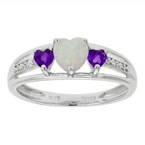 0.12 Heart Shaped Created Opal 925 Sterling Silver Ring with 0.24 Amethyst, Size - 5