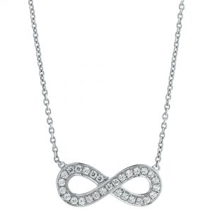 0.27 Round Diamonds 925 Sterling Silver Infinity Necklace with -ch Cable Chain