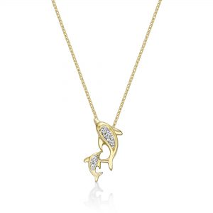 0.02 Round Diamonds 10K Yellow Gold Mini Mother and Child Dolphin Pendant with - 18 Inch Cable Chain