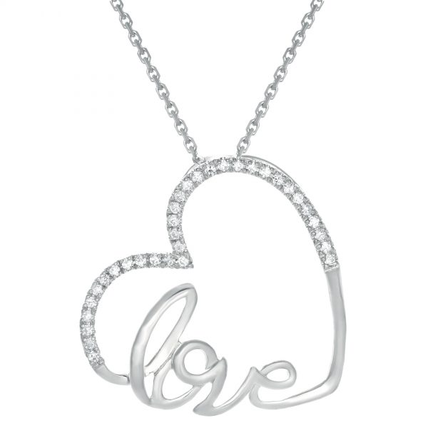 0.10 Round Diamonds 10K White Gold Heart & Love Pendant with - 18 Inch Cable Chain