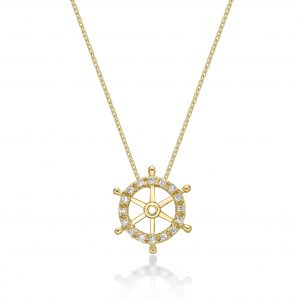 0.05 Round Diamonds 10K Yellow Gold Mini Ship Wheel Pendant with - 18 Inch Cable Chain