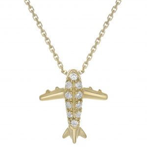 0.05 Round Diamonds 10K Yellow Gold Mini Airplane Pendant with - 18 Inch Cable Chain