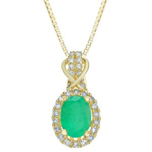 0.85 Oval Emerald 10K Yellow Gold Vintage Pendant with 0.15 Round Diamond - 18 Inch Box Chain
