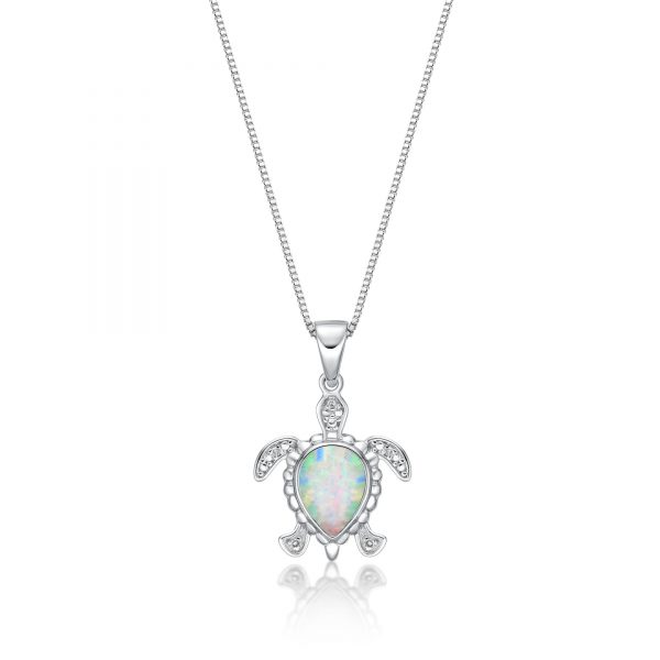 """.015 cttw Diamond and Created Opal Turtle Pendant in Sterling Silver 18"""""""