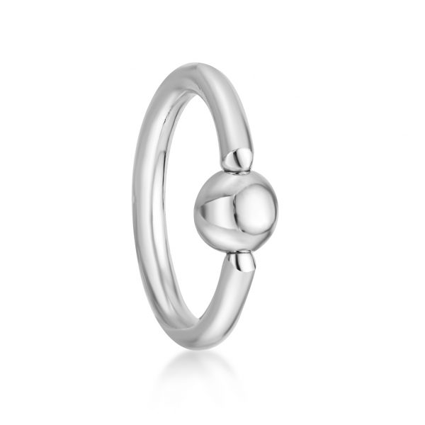 16 Gauge 8 mm 14k White Gold Captive Bead Hoop Nose Ring for Women Body Piercing Eyebrow Cartilage Tragus by Lavari Jewelers