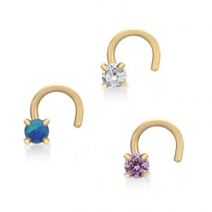 22 Gauge 14K Yellow Gold Curved Screw Nose Ring Set Blue Pink White Cubic Zirconia CZ Stones