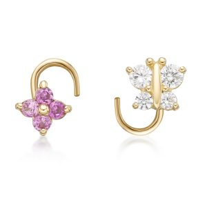22 Gauge 14K Yellow Gold Curved Screw White Butterfly Pink Flower Nose Ring Set