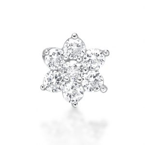 Straight Stud 4.5mm 22 Gauge White Cubic Zirconia Flower Nose Ring in 14k Gold by Lavari Jewelers