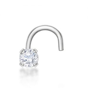 22 Gauge Cubic Zirconia Curve Stud Nose Ring in 14k White Gold 2mm by Lavari Jewelers