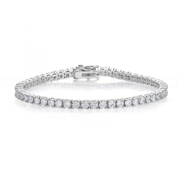Round Cubic Zirconia 925 Sterling Silver Tennis Bracelet - 7 Mmches