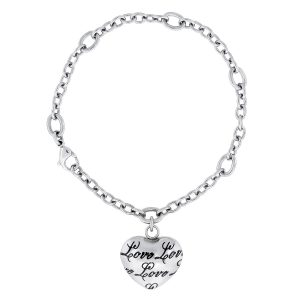 """Stainless Steel Heart """"Love You"""" Charm Bracelet - 6 MM Wide, 7.5 Inches Length with Lobster Closure"""