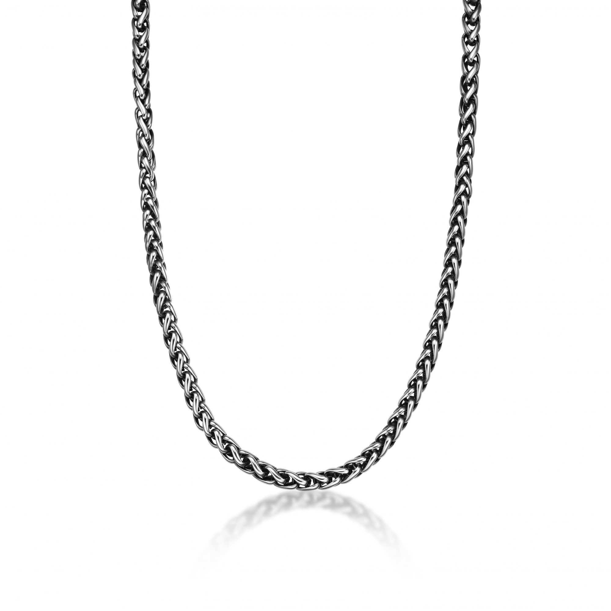 Stainless Steel Antique Finish Wheat Chain Necklace - 8 MM Wide, 24 Inches Length with Lobster Lock
