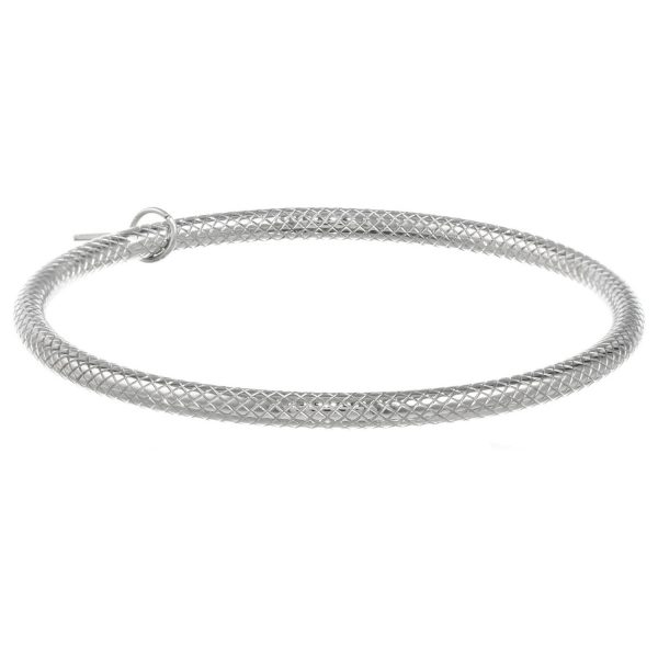 Stainless Steel Pattern Bangle - 5 MM Wide, 8 Inches Length with Closure