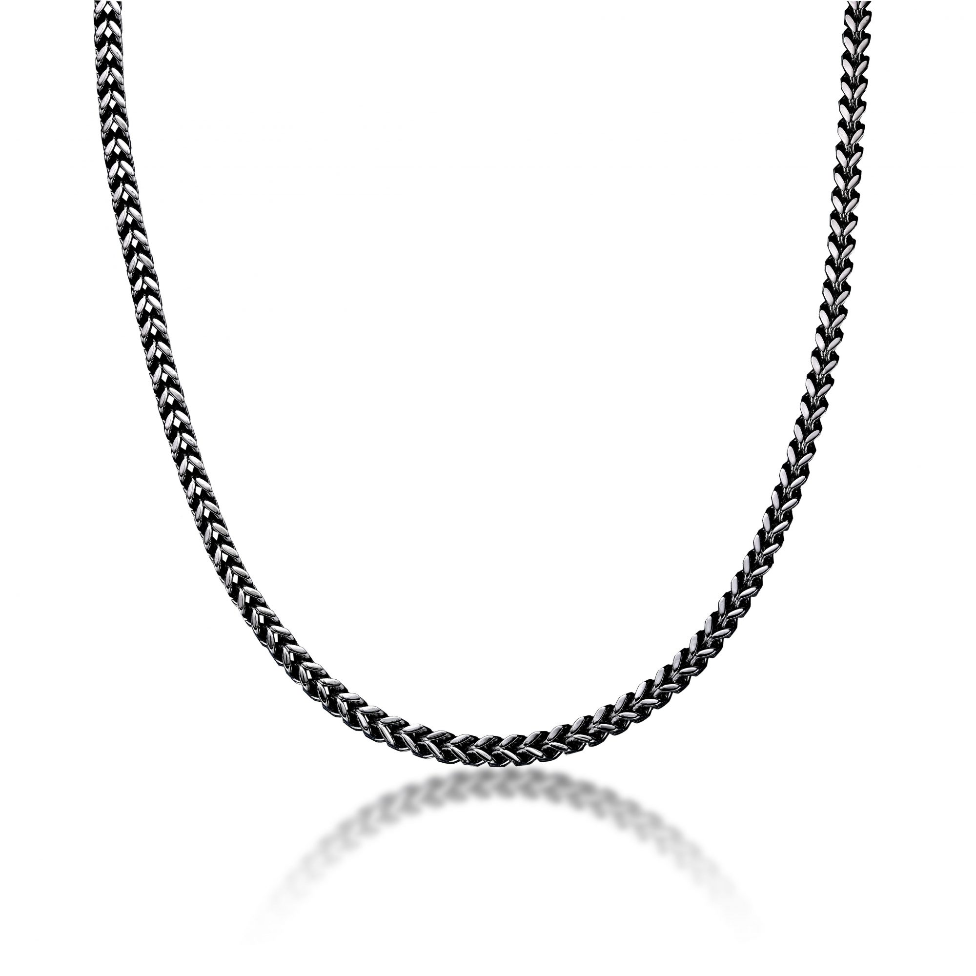 Stainless Steel Antique Ion Plated Foxtail Chain Necklace - 5 MM Wide, 22 Inches Length with Lobster Closure