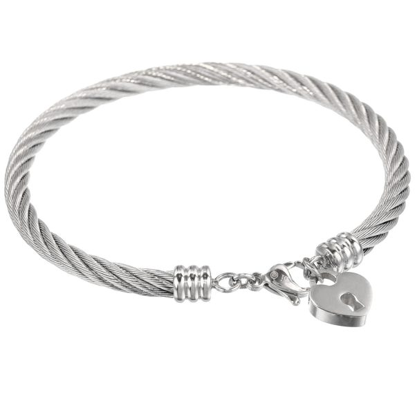Stainless Steel Heart Charm Bracelet - 5 MM Wide, 8.5 Inches Length with Lobster Closure