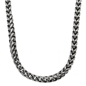 Stainless Steel Antique Ion Plated Foxtail Chain Necklace - 8 MM Wide, 24 Inches Length with Lobster Closure