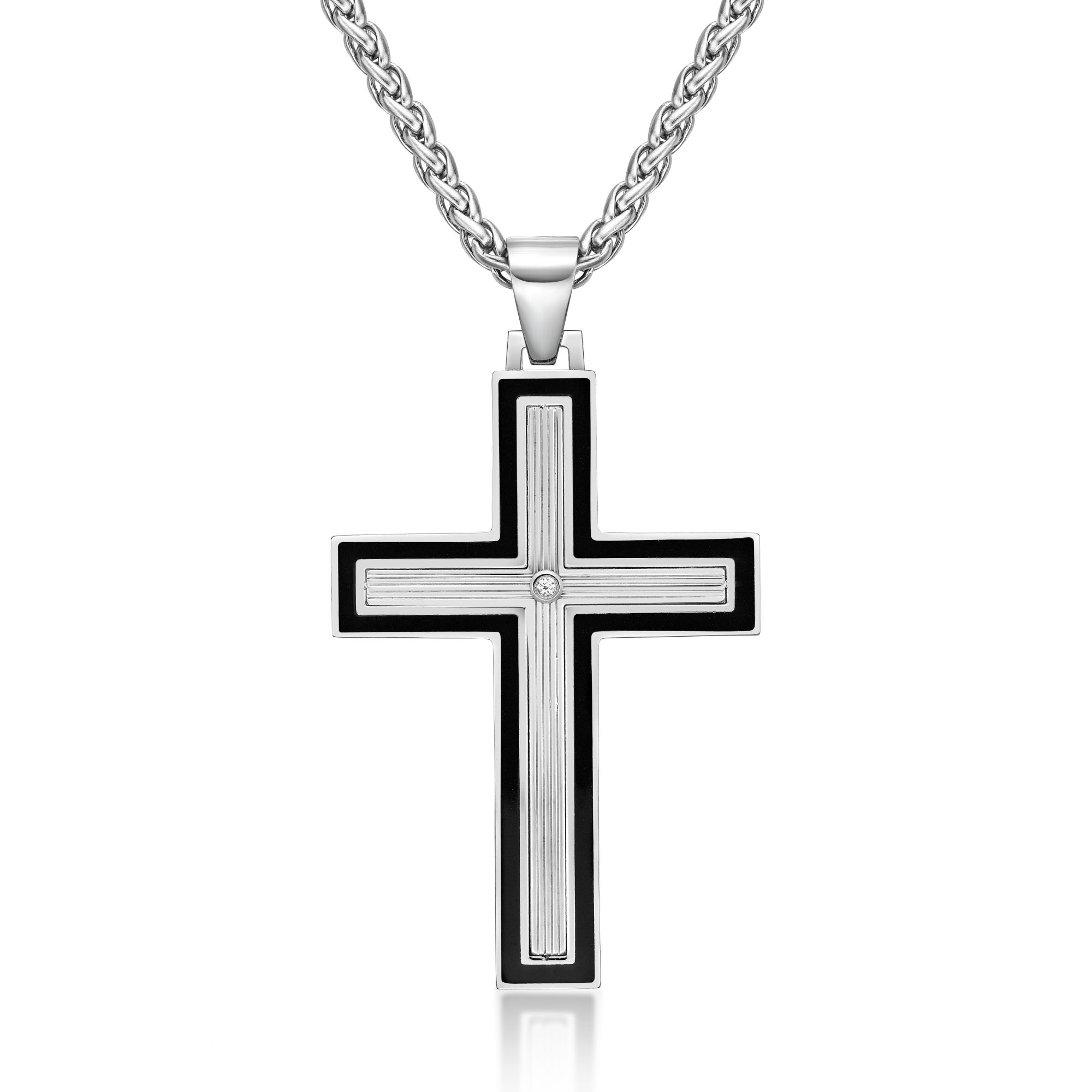 0.01 Round Cubic Zirconia Black Ion Plated Stainless Steel Resin Cross Pendant - 24 Inch Box Chain