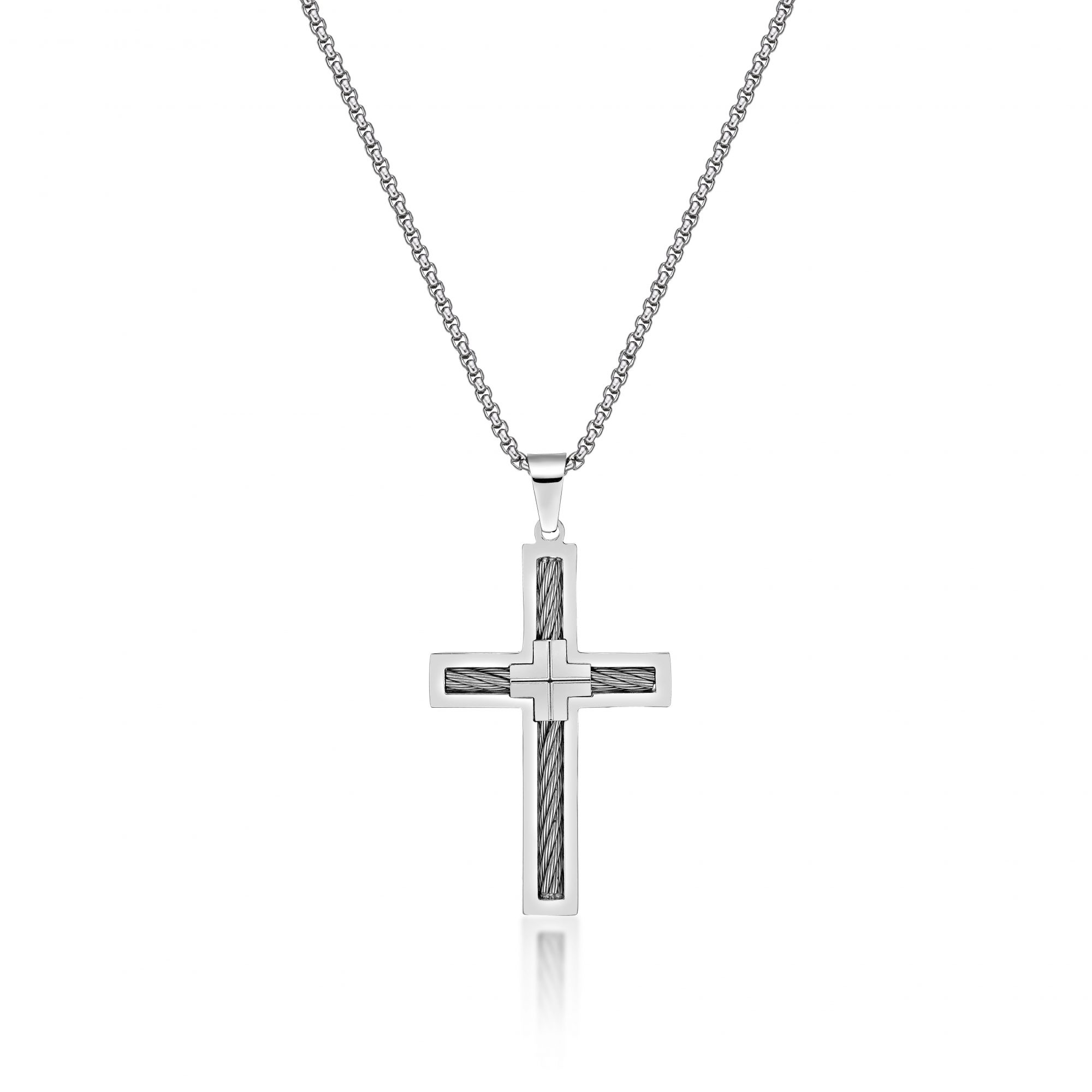Stainless Steel Cable Cross Pendant - 24 Inch Box Chain