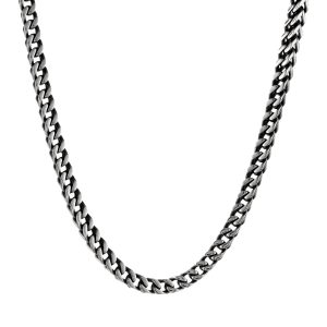 Stainless Steel Antique Ion Plated Foxtail Chain Necklace - 5 MM Wide, 22 Inches Length with Lobster Lock