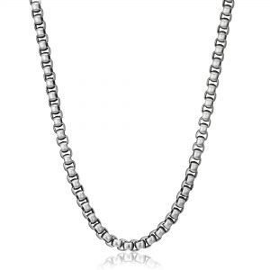 Round Box Stainless Steel Antique Ion Plated Thick Chain Necklace - 6 MM, 24 Inches with Lobster Closure