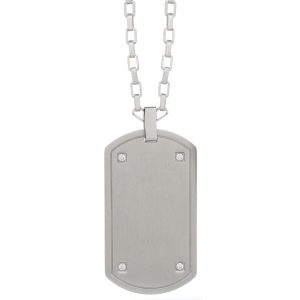 0.04 Round Cubic Zirconia Stainless Steel Timeless Dog Tag Pendant - 24 Inch Box Chain