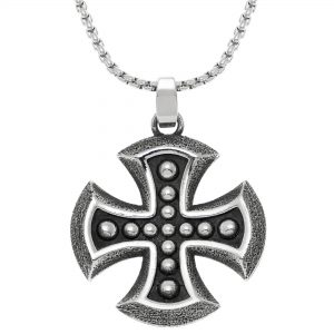 Black Ion Plated Stainless Steel Medallion Cross Pendant - 24 Inch Box Chain