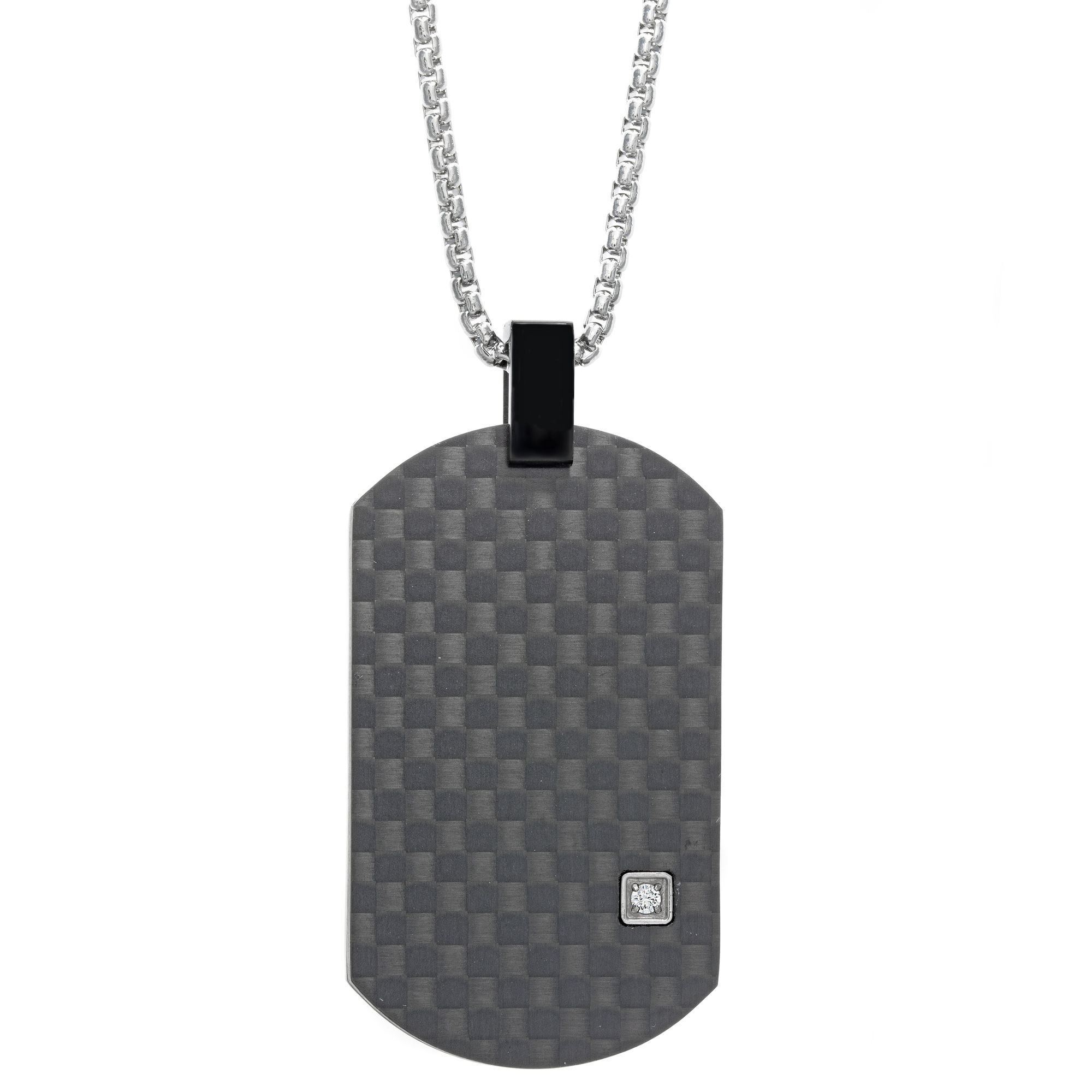 0.01 Round Cubic Zirconia Black Ion Plated Stainless Steel Carbon Fiber Dog Tag Pendant - 24 Inch Box Chain