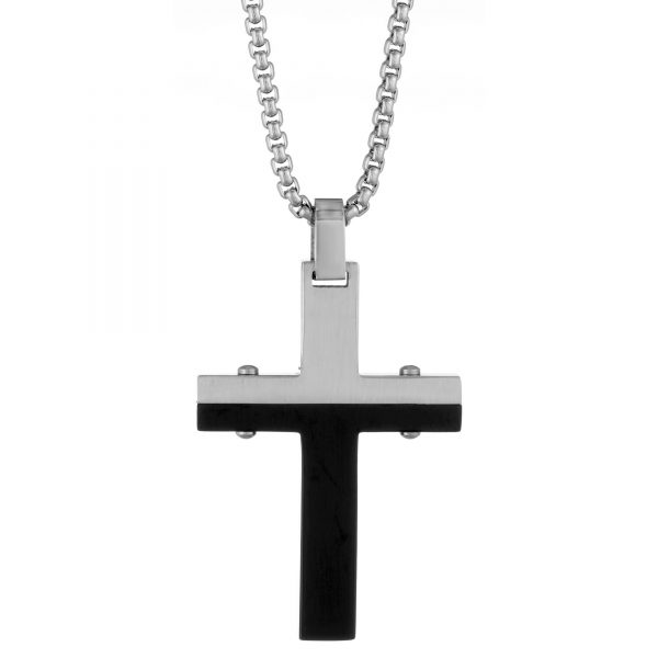 Black Ion Plated Stainless Steel Modern Two Tone Cross Pendant - 24 Inch Box Chain