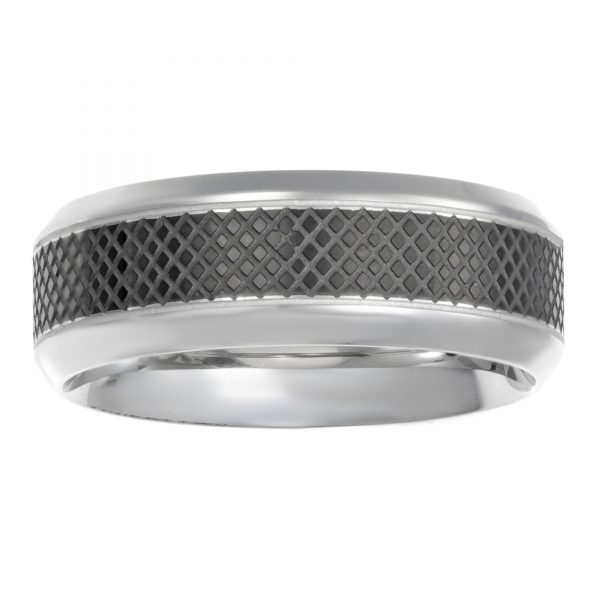 Stainless Steel Black Ion Plated Diamond Shape Pattern Ring - 8 MM Width - Size 9