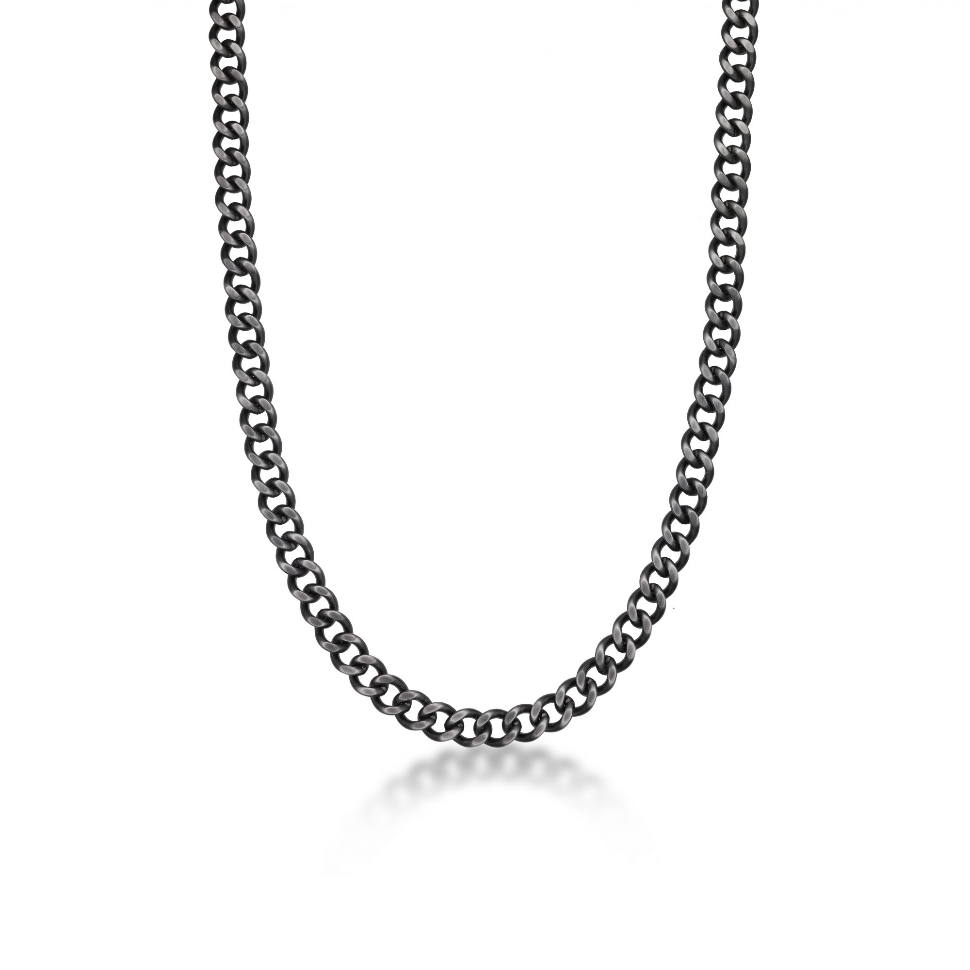 Stainless Steel Antique Ion Plated Curb Chain Necklace - 9 MM Wide, 24 Inches Length with Lobster Clasp