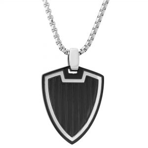 Black Ion Plated Stainless Steel Sheild Pendant Pendant - 24 Inch Box Chain