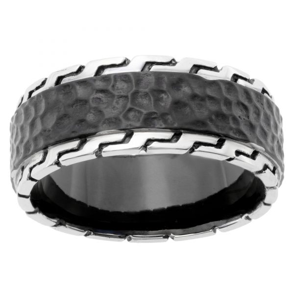 Stainless Steel Black Ion Plated Hammered Ring - 9 MM Width - Size 8