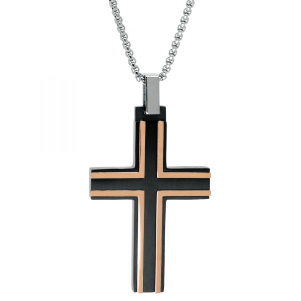 Black and Rose Ion Plated Stainless Steel Timeless Cross Pendant - 24 Inch Box Chain