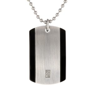 0.04 Diamond Black Ion Plated Stainless Steel Timeless Two Tone Dog Tag Pendant - 22 Inch Ball Chain