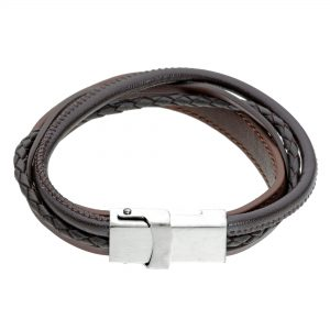 Black Braided Anchesagnr Genuine Leather Bracelet - 14 MM Width, 8.5 Inches Length - Magnetic Clasp