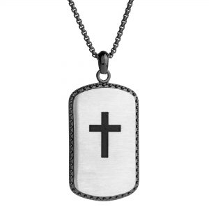 Black Ion Plated Stainless Steel Lord's Prayer Cross Tag Pendant - 24 Inch Box Chain