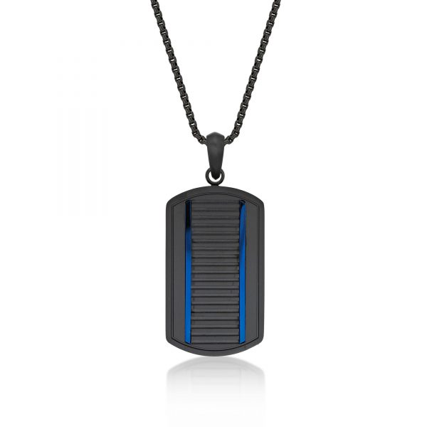 Blue Ion Plated Stainless Steel Rumble Strip Dog Tag Pendant - 24 Inch Box Chain