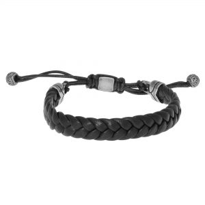 Black Adjustable Thick Briaded Genuine Leather Bracelet - 11 MM Width, 8.5 Inches Length - Pull Lock