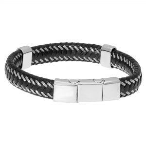 Black Braided Anches Lagnetr Genuine Leather Bracelet - 13 MM Width, 9 Inches Length - Magnetic Closure