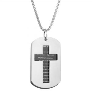 Black Ion Plated Stainless Steel Lord's Prayer Carved Cross Tag Pendant - 24 Inch Box Chain